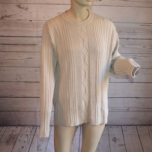 Caliborne Beige Tan Cable Knit Sweater Crew Neck L